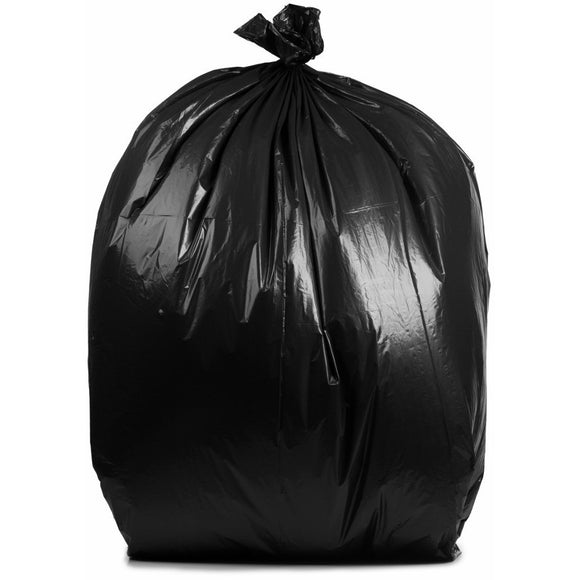 50-60 Gallon Garbage Bags: Black, 1.5 Mil, 38x58, 100/ Case.