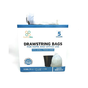 5 Gallon Garbage Bags, Drawstring: White, 1 MIL, 17x20, 200 Bags.