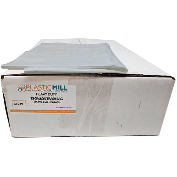 33 Gallon Garbage Bags: White, .7 MIL, 33x39, 150 Bags.