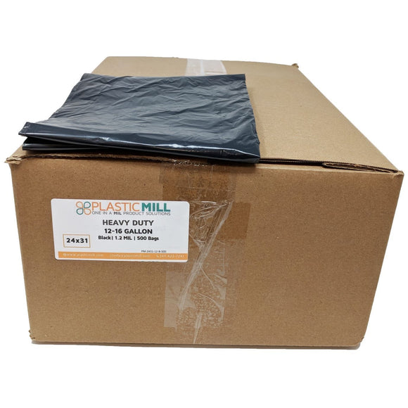 12-16 Gallon Garbage Bags: Black, 1.2 Mil, 24x31, 500 Bags.