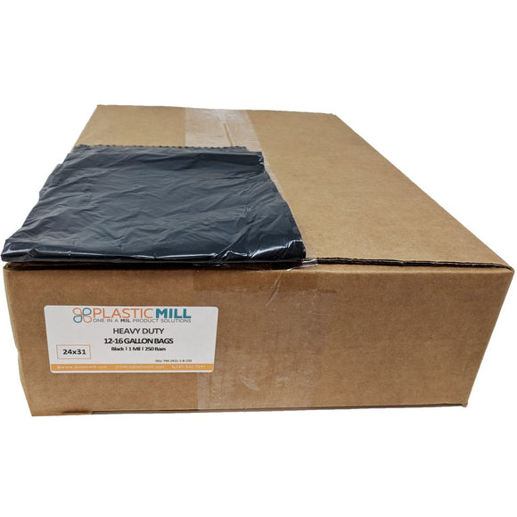 12-16 Gallon Garbage Bags: Black, 1 Mil, 24x31, 250 Bags.