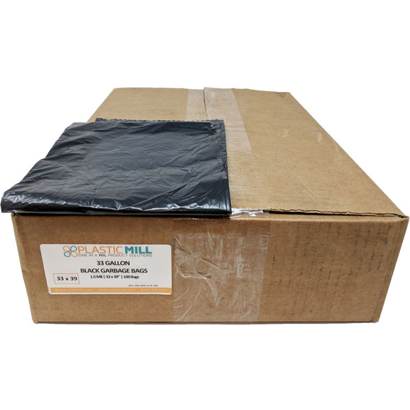 33 Gallon Garbage Bags: Black, 3 Ply (1.5 Mil), 33x39, 100 Bags.