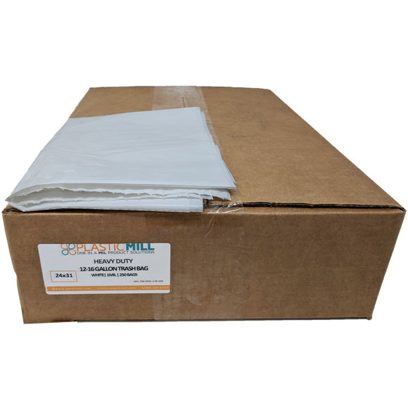 12-16 Gallon Garbage Bags: White, 1 MIL, 24x31, 250 Bags.