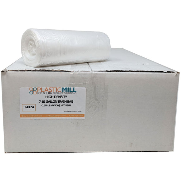 7-10 Gallon Garbage Bags, High Density: Clear, 8 Micron, 24X24, 1000 Bags.