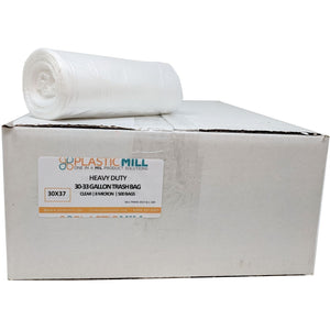 20-30 Gallon Garbage Bags, High Density: Clear, 8 Micron, 30x37, 500 Bags.