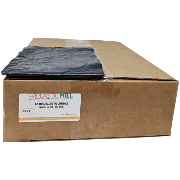 12-16 Gallon Garbage Bags: Black, 1.2 Mil, 24x31, 250 Bags.