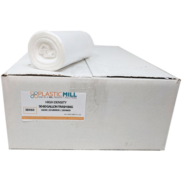 50-60 Gallon Garbage Bags, High Density: Clear, 22 Micron, 38x60, 150 Bags.