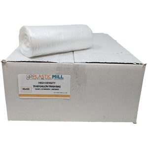 50-60 Gallon Garbage Bags, High Density: Clear, 12 Micron, 36x60, 200 Bags.