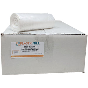 12-16 Gallon Garbage Bags, High Density: Clear, 8 Micron, 24x33, 1000 Bags.