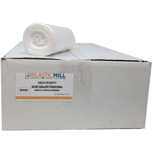 50-60 Gallon Garbage Bags, High Density: Clear, 17 Micron, 36x60, 200 Bags.