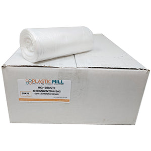 20-30 Gallon Garbage Bags, High Density: Clear, 16 Micron, 30x37, 500 Bags.