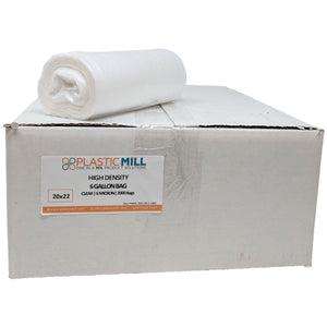6 Gallon Garbage Bags, High Density: Clear, 6 Micron, 20x22, 2000 Bags.