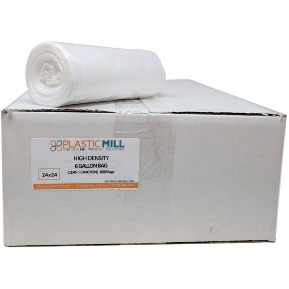 7-10 Gallon Garbage Bags, High Density: Clear, 6 Micron, 24X24, 1000 Bags.