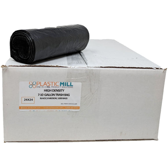 7-10 Gallon Garbage Bags, High Density: Black, 8 Micron, 24x24, 1000 Bags.