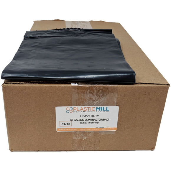 42 Gallon Contractor Bags: Black, 3 MIL, 33x48, 50 Bags.