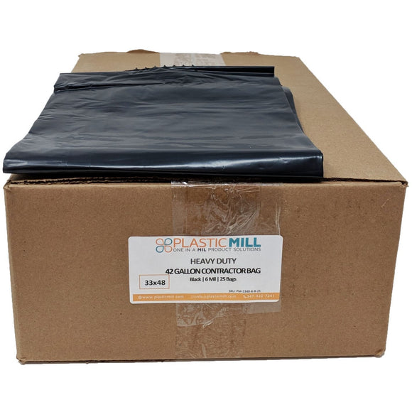 42 Gallon Contractor Bags: Black, 6 MIL, 33x48, 25 Bags.