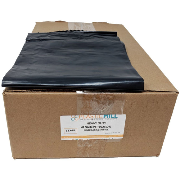 42 Gallon Garbage Bags: Black, 1.5 MIL, 33x48, 100 Bags.