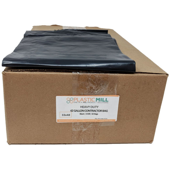 42 Gallon Contractor Bags: Black, 3 MIL, 33x48, 32 Bags.