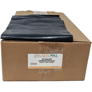 42 Gallon Contractor Bags: Black, 4 MIL, 33x48, 50 Bags.