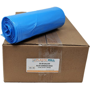 20-30 Gallon Garbage Bags: Blue, 1.2 MIL, 30x36, 200 Bags.