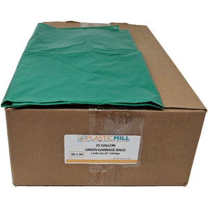 20-30 Gallon Garbage Bags: Green, 1.2 MIL, 30x36, 200 Bags.