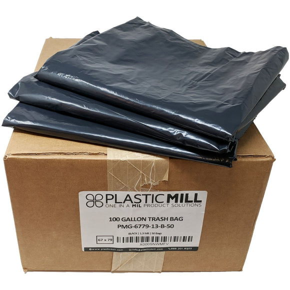 100 Gallon Garbage Bags, Gang Folded: Black, 1.3 Mil, 67x79, 50 Bags.