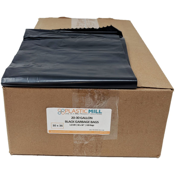 20-30 Gallon Garbage Bags: Black, 1.6 MIL, 30x36, 100 Bags.