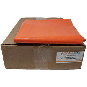 42 Gallon Contractor Bags: Orange, 3 MIL, 33x48, 50 Bags.