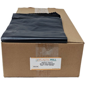 20-30 Gallon Garbage Bags: Black, 1.2 MIL, 30x36, 250 Bags.