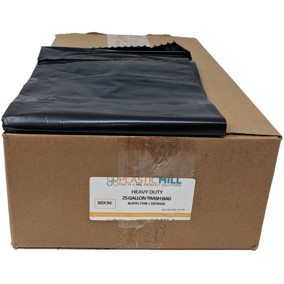 20-30 Gallon Garbage Bags: Black, 2 MIL, 30x36, 100 Bags.