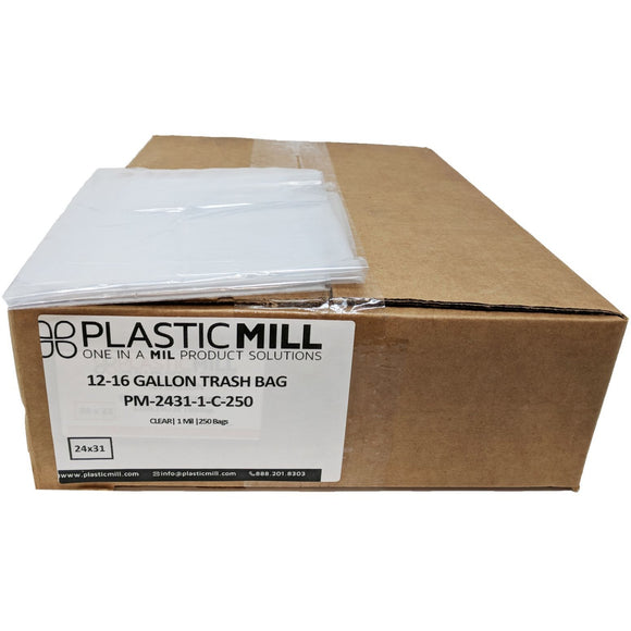 12-16 Gallon Garbage Bags: Clear, 1 Mil, 24x31, 250 Bags.