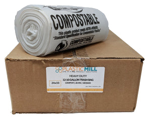 12-16 Gallon Garbage Bags, Compostable: Clear, 0.85 MIL, 24x33, 100 Bags.
