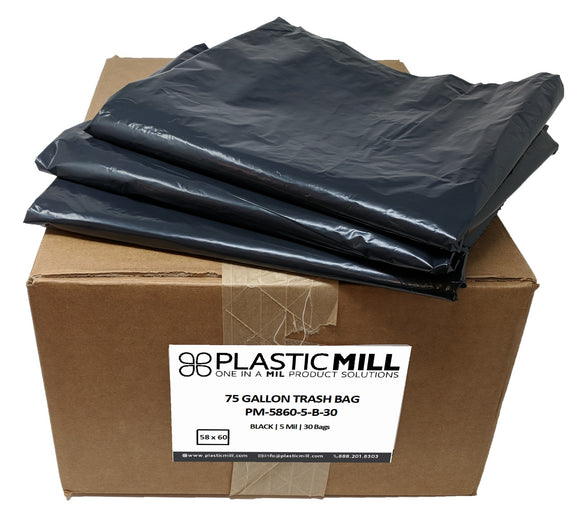 75 Gallon Contractor Bags: Black, 5 Mil, 58x60, 30 Bags.