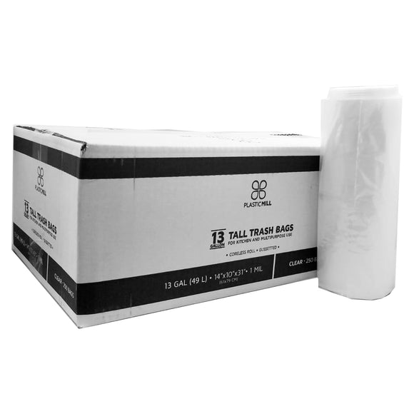 12-16 Gallon Garbage Bags: Clear, 1 Mil, 24x31, 250 Bags, 100% Virgin Material