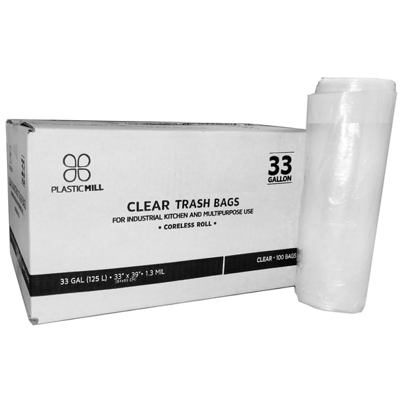 33 Gallon Garbage Bags: Clear, 33x39, 1.3 Mil, 100 Bags.