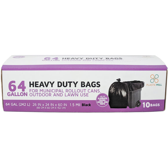 64 Gallon Garbage Bags: Black, 1.5 Mil, 50x60, 10 Bags/Case.