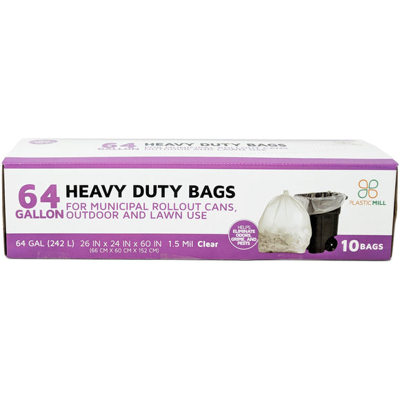 64 Gallon Garbage Bags: Clear, 1.5 Mil, 50x60, Select Case.