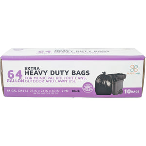 64 Gallon Garbage Bags: Black, 2 Mil, 50x60, 10 Bags/Case.