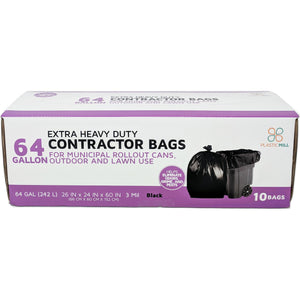 64 Gallon Contractor Bags: Black, 3 Mil, 50x60, 10 Bags/Case.