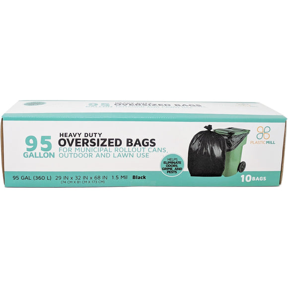 95 Gallon Garbage Bags: Black, 1.5 Mil,  61x68, 10 Bags/Case.