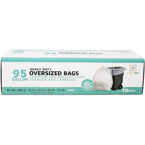 95 Gallon Garbage Bags: Clear, 1.5 Mil, 61x68, 10 Bags/Case.