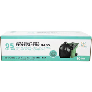 95 Gallon Contractor Bags: Black, 3 Mil, 61x68, 10 Bags/Case.