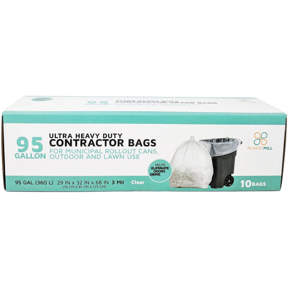 95 Gallon Contractor Bags: Clear, 3 Mil, 61x68, 10 Bags/Case.
