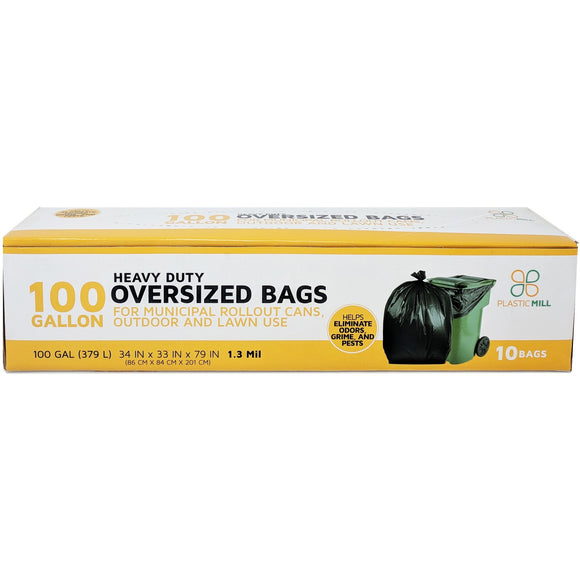 100 Gallon Garbage Bags: Black, 1.3 Mil, 67x79, 10 Bags/Case.