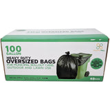 100 Gallon Garbage Bags: Black, 1.3 Mil, 67x79, 40 Bags/Case.