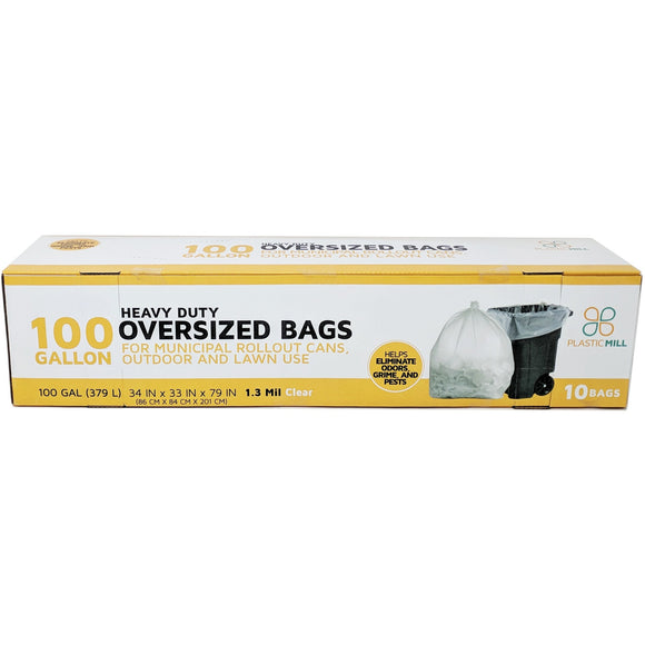 100 Gallon Garbage Bags: Clear, 1.3 Mil, 67x79, Select Case.
