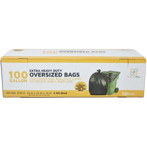 100 Gallon Garbage Bags: Black, 2 Mil, 67x79, 10 Bags/Case.