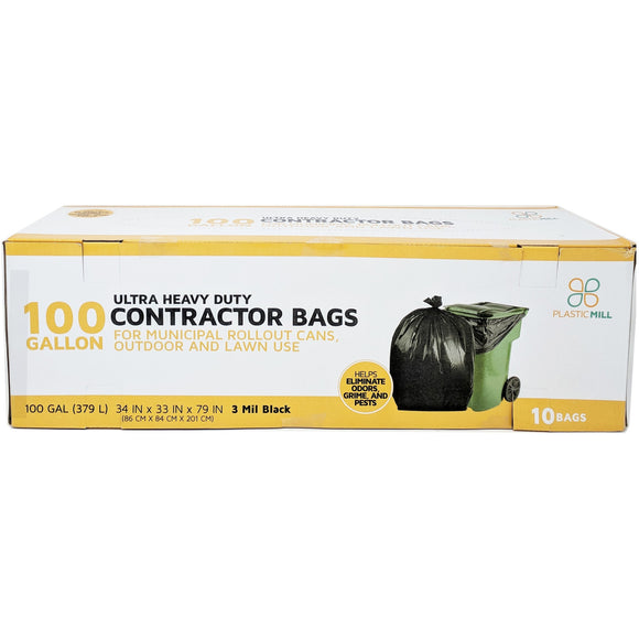 100 Gallon Contractor Bags: Black, 3 Mil, 67x79, 10 Bags/Case.