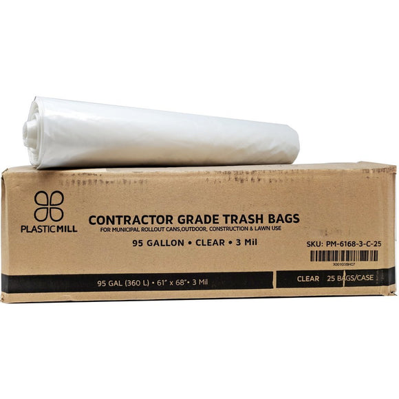 95 Gallon Contractor Bags: Clear, 3 Mil, 61x68, 25 Bags/Case.