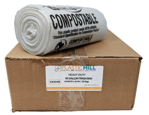 42 Gallon Garbage Bags, Compostable: Clear, 0.85 MIL, 33x48, 50 Bags.
